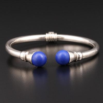 Sterling Silver Imitation Lapis Lazuli Cuff Bracelet
