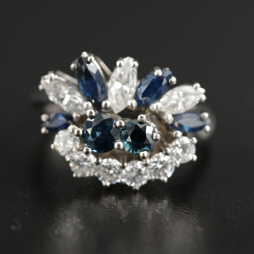 Vintage 14K Gold Sapphire and 1.15 CTW Diamond Ring