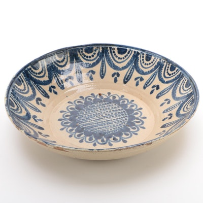 Spanish Fajalauza Blue and White Glazed Earthenware Bowl, 19th Century