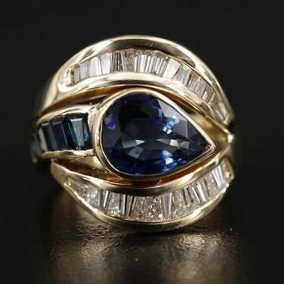 18K Yellow Gold Sapphire and Diamond Ring with 2.56 CT Sapphire Center