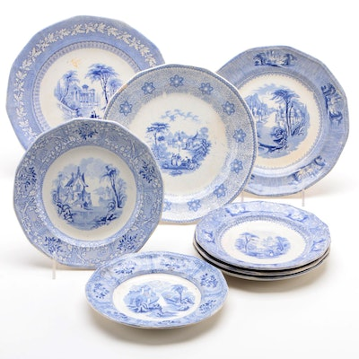 "J. Clementson ""Siam"" Ironstone Plate with Other Ironstone Plates, Mid 19th C."