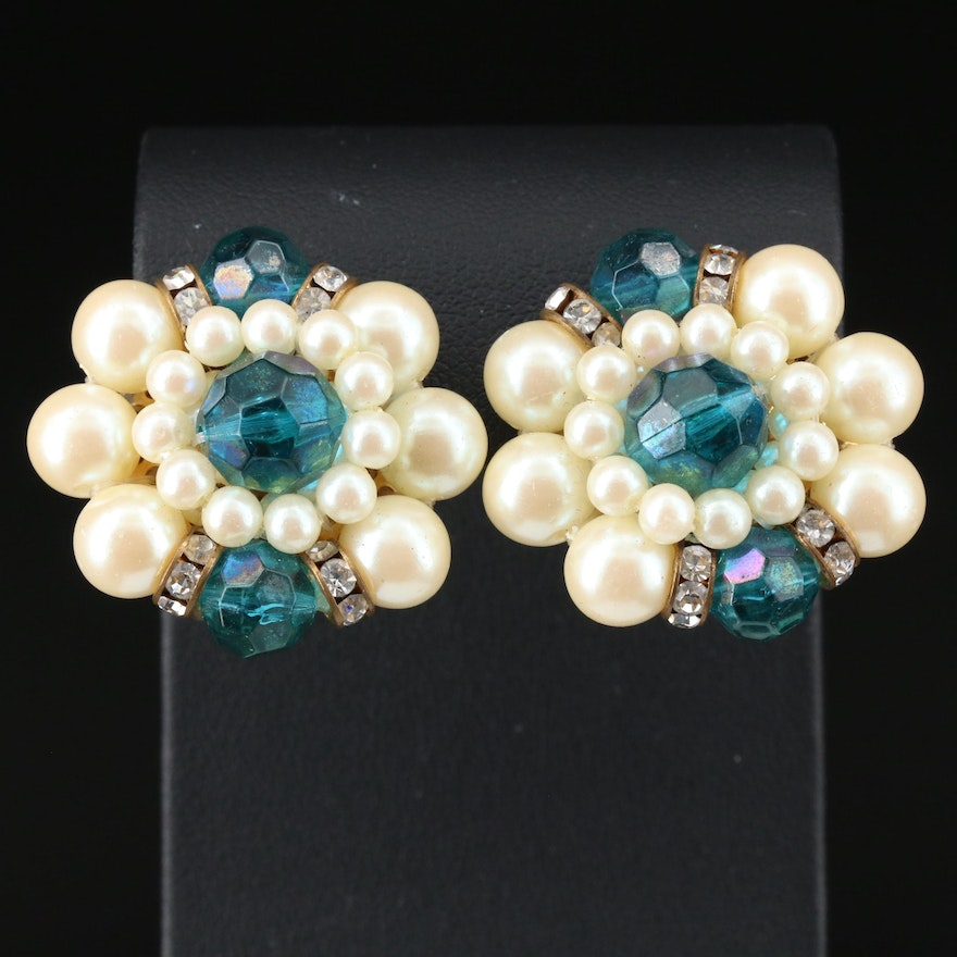 Vintage Glass, Imitation Pearl and Rhinestone Clip-On Earrings