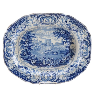 "Herculaneum ""Lancaster"" Transferware Well Meat Platter, circa 1820"