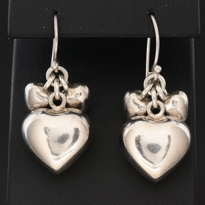 Sterling Silver Puffy Heart Dangle Earrings