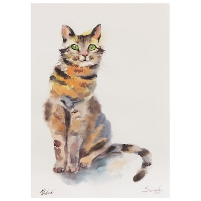 Marina Lebed Watercolor Painting of Cat