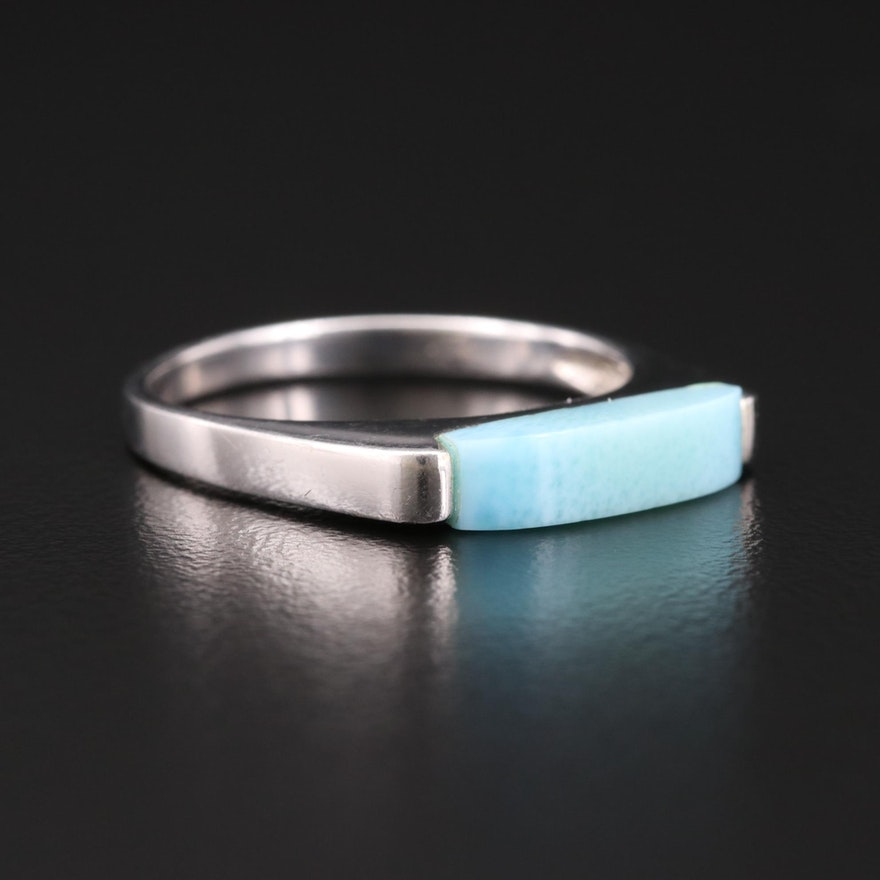 Sterling Silver Larimar Saddle Style Ring