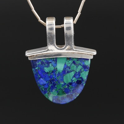 Sterling Lapis Lazuli and Malachite Pendant on Liquid Silver Necklace