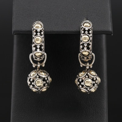 "John Hardy ""Jaisalmer"" Sterling J-Hoop Earrings with Enhancers and 18K Accents"