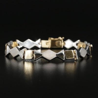 Modern 14K Yellow and White Gold Bracelet