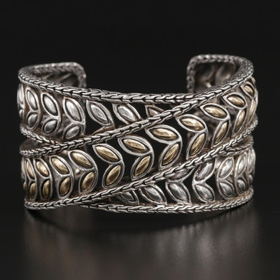John Hardy Sterling Silver Leaf Cuff with 18K Accents