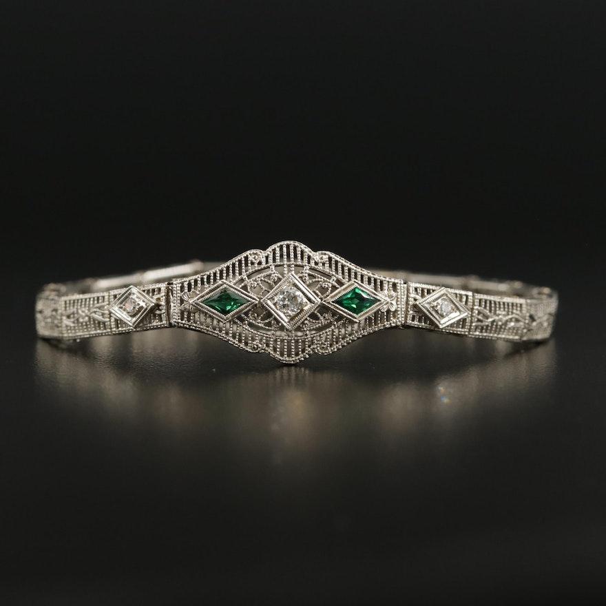 Art Deco 14K White Gold Diamond and Green Glass Filigree Bracelet
