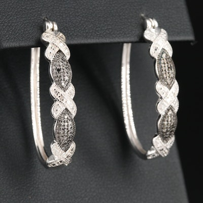Sterling Silver Diamond 'X' Hoop Earrings