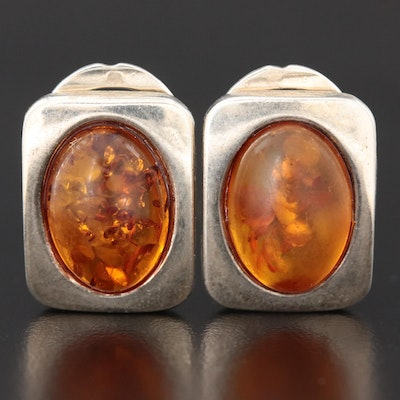 Sterling Silver Amber Clip-On Earrings