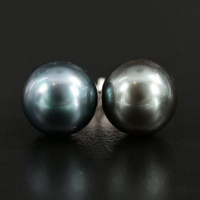 18K White Gold Imitation Pearl Stud Earrings