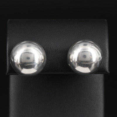 Mexican Sterling Silver Button Earrings