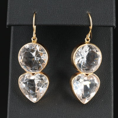 14K Gold Amethyst and Rock Crystal Quartz Dangle Earrings