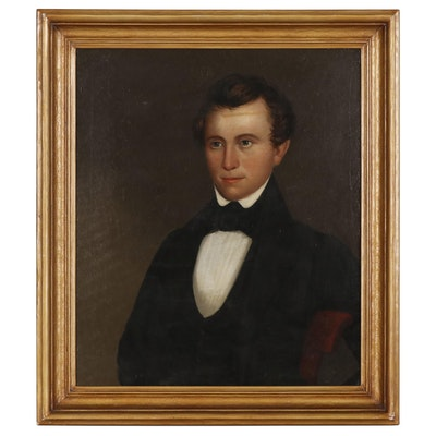 American School Folk Oil Portrait, 19th Century