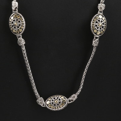 "John Hardy ""Jaisalmer"" Sterling Station Necklace with 18K Gold Accents"