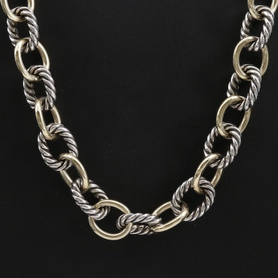 David Yurman 18K Yellow Gold and Sterling Silver Cable Link Necklace