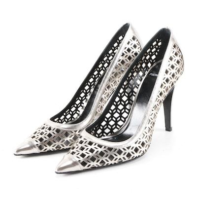 Pierre Hardy Iridescent Metallic Silver Laser Cut High Heel Pumps