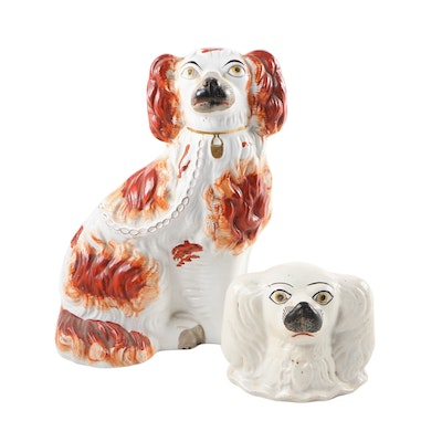 Staffordshire Ceramic Spaniel Figure with Bank, Early 20th Century