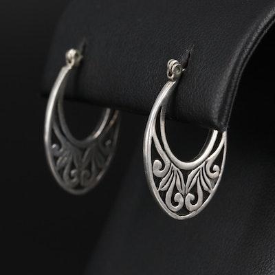 Sterling Silver Elongated Hoop Earrings With Scrolled Motif