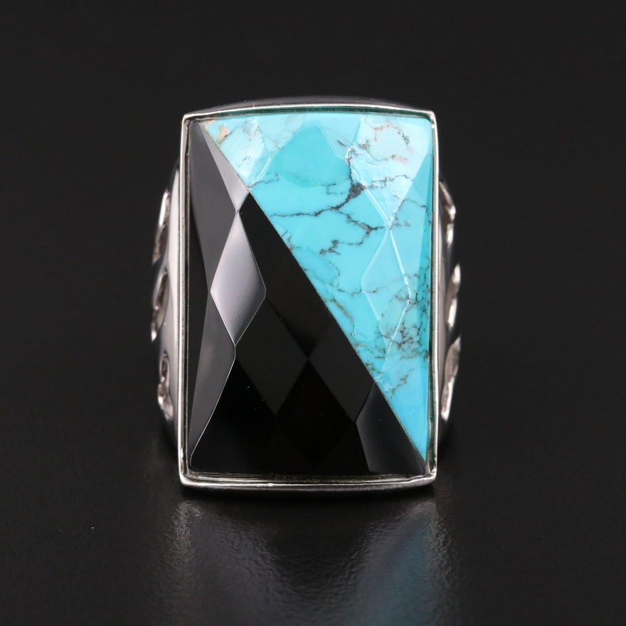 Sterling Silver Turquoise and Black Onyx Ring