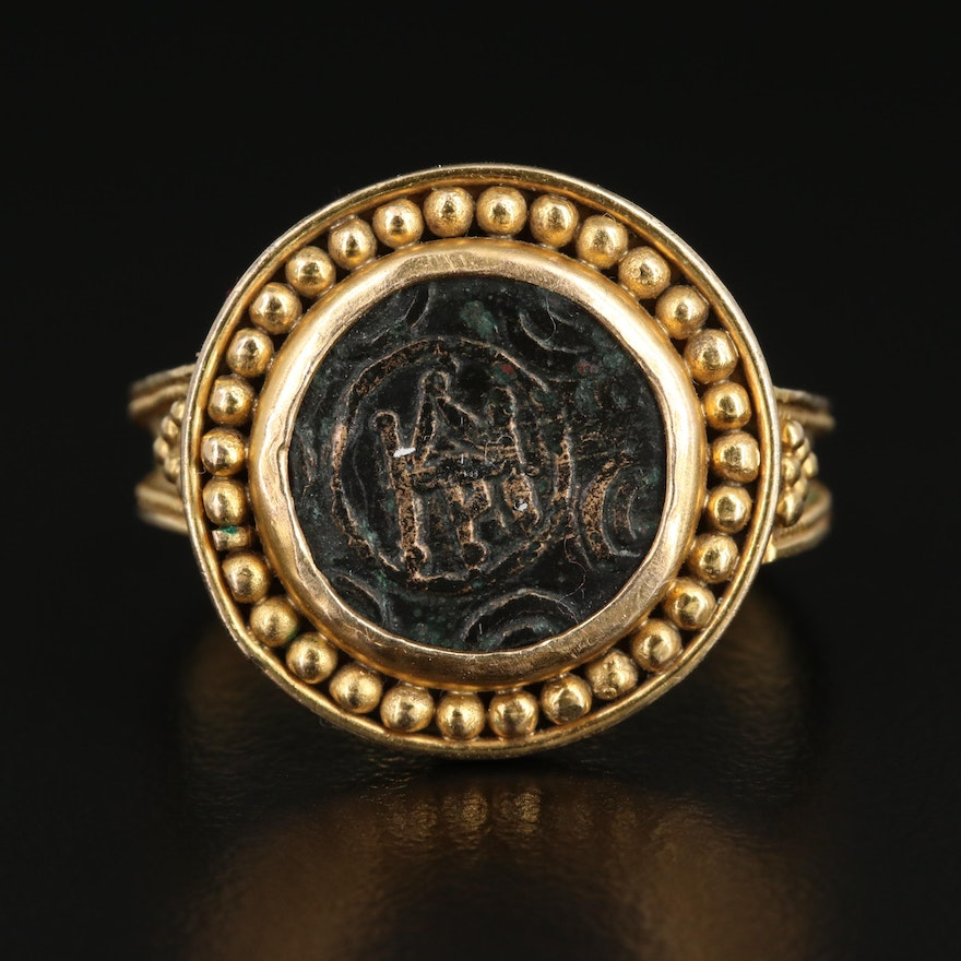 """14K Gold Ring with Circa 325 B.C. Macedonian Alexander III, """"The Great"""" Coin"""