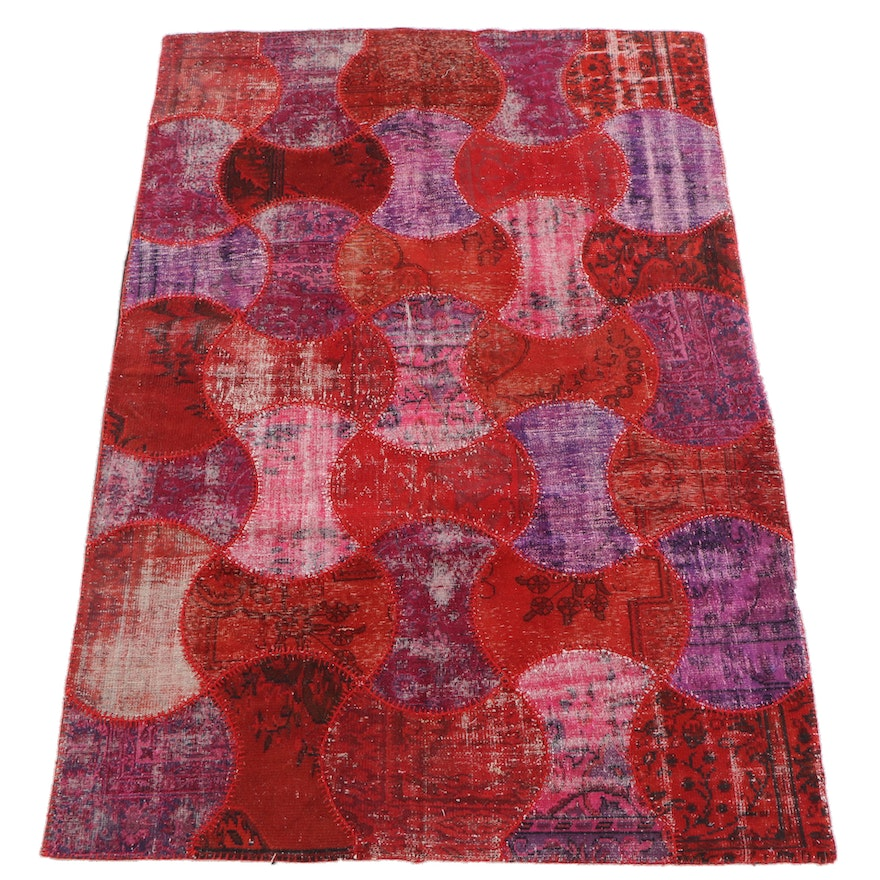 6'7 x 9'9 Hand-Knotted Turkish Patchwork Wool Rug