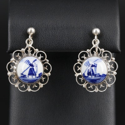 Vintage Delft Sterling Silver and Porcelain Earrings
