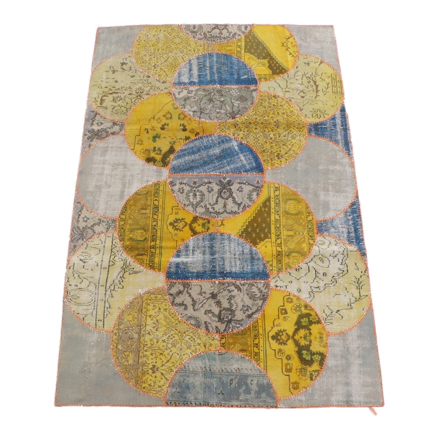 6'7 x 10'0 Hand-Knotted Turkish Patchwork Wool Rug