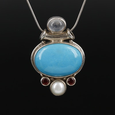 Sajan Sterling Pendant Necklace with Turquoise and Rainbow Moonstone