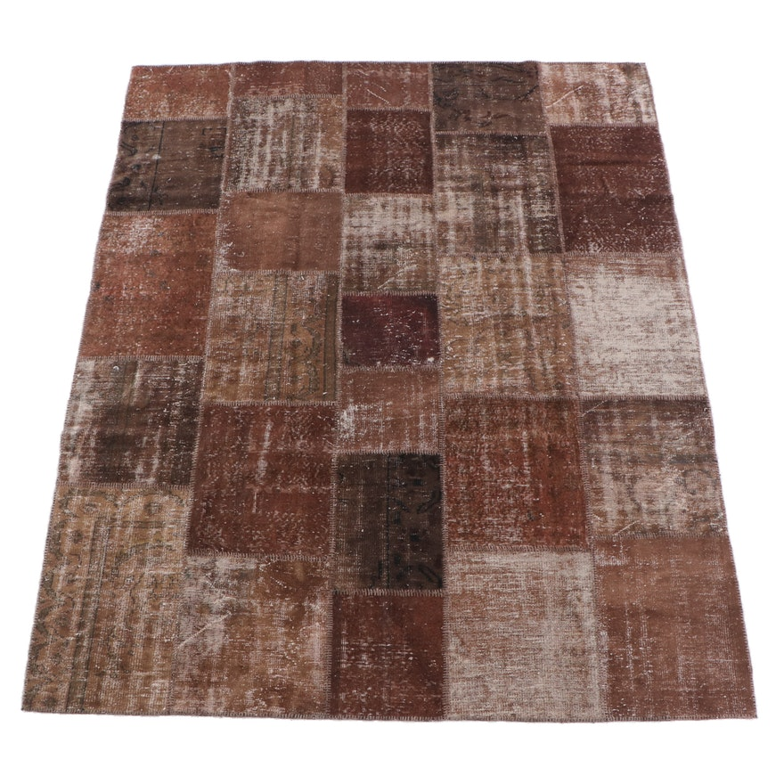 8'3 x 9'11 Hand-Knotted Turkish Patchwork Wool Rug
