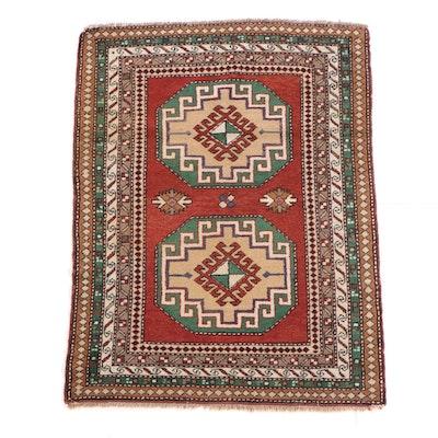 3'7 x 4'11 Hand-Knotted Caucasian Kazak Wool Rug