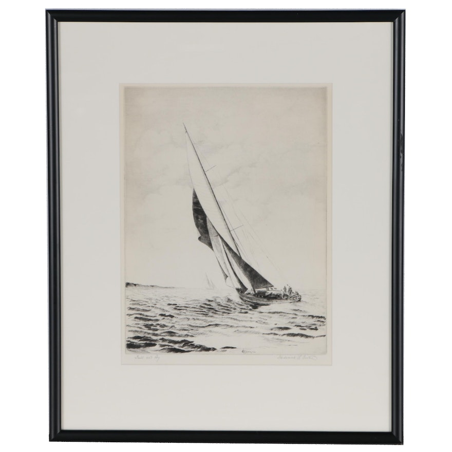 """Frederick L. Owen Drypoint Etching """"Full and By"""", 1932"""