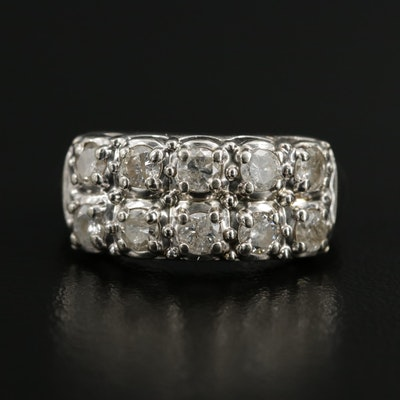Vintage 14K White Gold 1.00 CTW Diamond Double Row Ring
