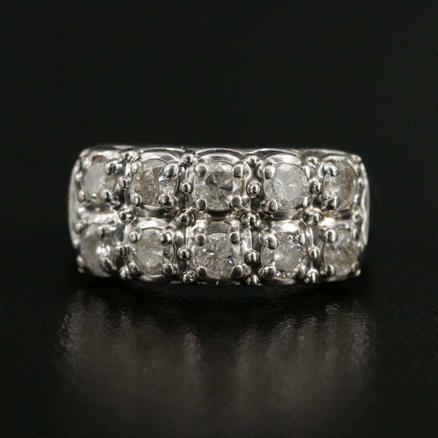 Vintage 14K White Gold 1.00 CTW Diamond Double Row Ring