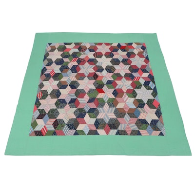 """Handcrafted """"Six Pointed Star"""" Patchwork Quilt, 20th Century"""