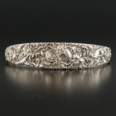 Sterling Silver Graduated Floral Motif Cuff