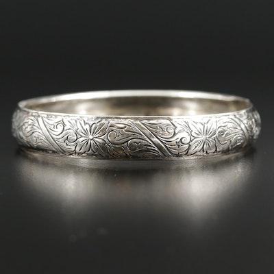 Sterling Silver Floral Motif Bangle