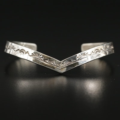 Southwestern Sterling Silver Etched Cuff Bracelet