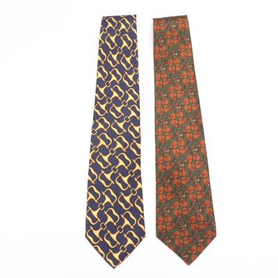 Gucci and Burberrys Equestrian Theme Silk Twill Neckties