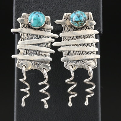 Sterling Turquoise Clip-On Earrings