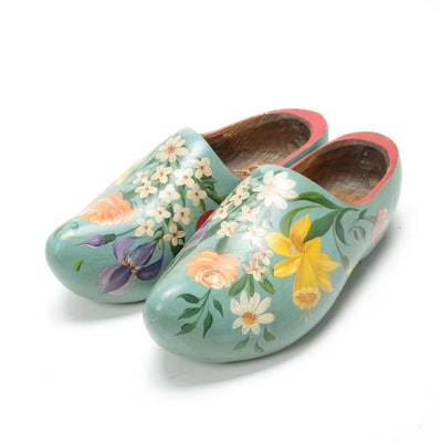 Dutch Hand-Painted Decorative Clogs with Floral Motifs