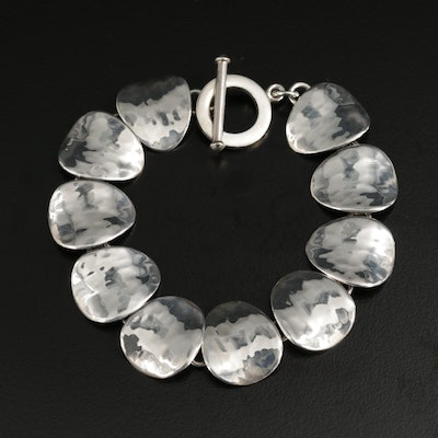 Mexican Sterling Silver Bracelet Featuring Hammered Design