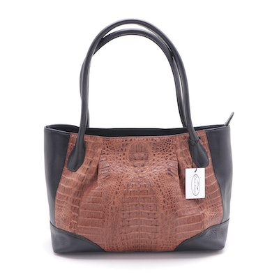 Eileen Kramer Two-Tone Crocodile Skin and Leather Tote