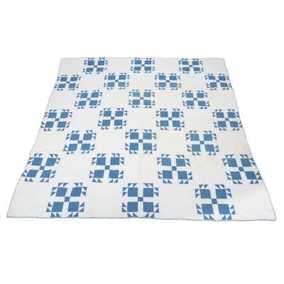 Handcrafted Blue and White Patchwork Quilt, Early 20th Century