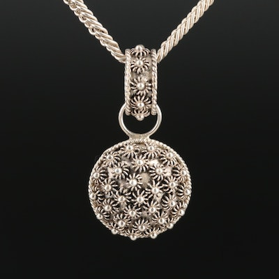 Sterling Silver Motif Pendant Necklace