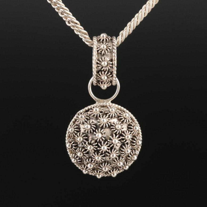Sterling Silver Motif Pendant Necklace