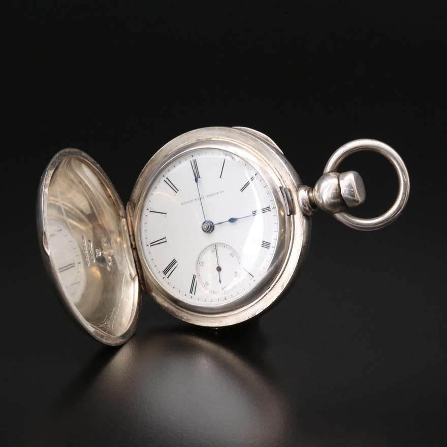Antique Elgin National Watch Co. Coin Silver Pocket Watch, 1882